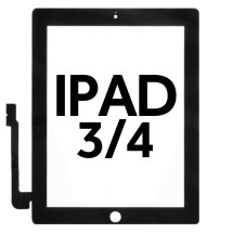 Digitizer (Adhesive & No Home Button) for Apple iPad 3 & 4 (Black)