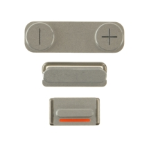 Cosmetic Button Set (Power, Volume Buttons, & Mute Toggle) for Apple iPhone 5S & SE (1st Gen) (Silver) (Closeout)