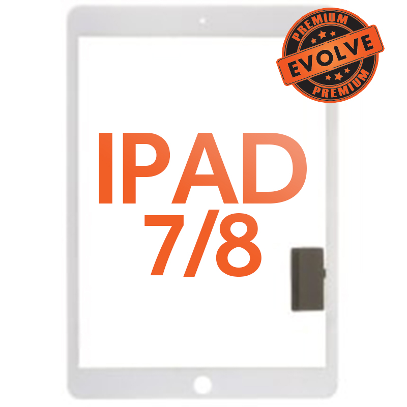 Digitizer (Adhesive & No Home Button) for Apple iPad 7 (2019) & 8 (2020) (White) (Premium Evolve)