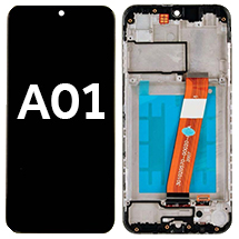 LCD, Digitizer, & Frame Assembly (Micro USB Port & Narrow FPC Connector) for Samsung Galaxy A01 (Black) (Aftermarket)