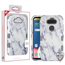 MYBAT TUFF Hybrid Case for LG K8x (2020) & Aristo 5 (White Marble & Gray)
