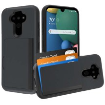 MYBAT Pocket Hybrid Case with Card Slot for LG K8x (2020) & Aristo 5 (Black)