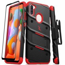 Zizo Bolt Case with Stand for Samsung Galaxy A11 (Black & Red)