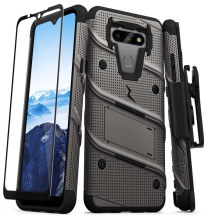 Zizo Bolt Case with Stand for LG K8x (2020) & Aristo 5 (Gunmetal Gray & Black)