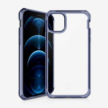 ITSKINS Clear Hybrid Case for Apple iPhone 12 & 12 Pro (Deep Blue & Clear)