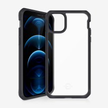 ITSKINS Clear Hybrid Case for Apple iPhone 12 & 12 Pro (Black & Clear)