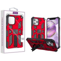 Asmyna Sturdy Hybrid Case for Apple iPhone 12 Pro Max (Red & Black)