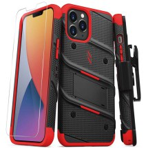 Zizo Bolt Case with Stand for Apple iPhone 12 Pro Max (Black & Red)