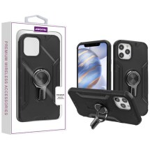 Asmyna Hybrid Case with Magnetic Ring Stand for Apple iPhone 12 & 12 Pro (Black)