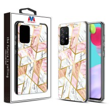 MYBAT Electroplated Hybrid Case for Samsung Galaxy A52 & A52 5G (Pink Marble)