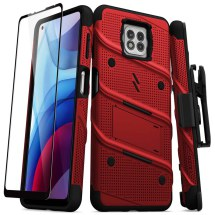 Zizo Bolt Case with Stand for Motorola Moto G Power (2021) (Red & Black)