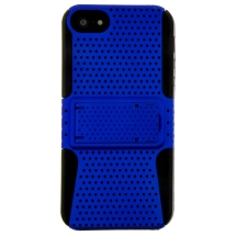 Mesh Hybrid Case with Stand for Apple iPhone 5, 5S, & SE (1st Gen) (Blue & Black) (Closeout)