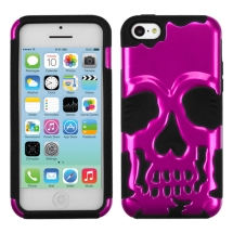 Hybrid Skullcap Cover for Apple iPhone 5C (Metallic Hot Pink & Black) (Closeout)