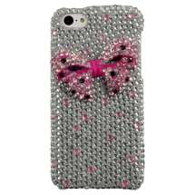 Shield for Apple iPhone 5C (Pink & Clear Crystal Bow Tie) (Closeout)
