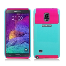 Hybrid 2 Tone Case for Samsung Galaxy Note 4 (Light Blue & Hot Pink) (Closeout)