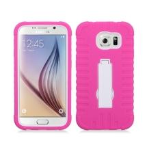 Armor Case with Stand for Samsung Galaxy S6 (Hot Pink & White) (Closeout)