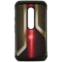 Hybrid Design Case for Motorola Moto G (3rd Gen) (Car Grill Black) (Closeout)