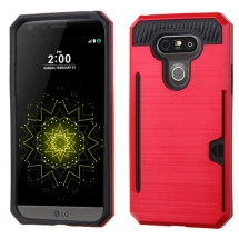 Brushed 2 Piece Hybrid Case with Card Holder for LG G5 (Red & Black) (Closeout)
