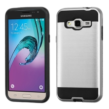 Asmyna Brushed Hybrid Case for Samsung Galaxy J3 (Silver & Black) (Closeout)