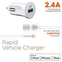 Naztech HyperGear 2.4A Rapid Car Charger & 4 ft MFi Lightning Cable (White)
