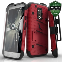 Zizo Bolt Case with Stand for Motorola Moto G Play (Red & Black) (Closeout)