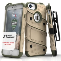 Zizo Bolt Case with Stand for Apple iPhone 6, 6S, 7, 8, & SE (2nd Gen) (Desert Tan & Camo Green)