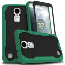 Zizo Proton 2.0 Case with Stand & Tempered Glass Screen Protector for LG V3 (Emerald Green & Black) (Closeout)