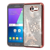 Asmyna Quicksand Glitter Hybrid Case for Samsung Galaxy J3 (2017) (Rose Gold Eiffel Tower & Silver) (Closeout)