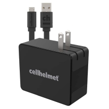 Cellhelmet Quick Charge 3.0 Wall Charger with 3ft Flat Micro USB Charge Cable (Black)