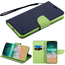 MYBAT Wallet Case with Tray for Apple iPhone XS Max (Dark Blue & Green) (Closeout)
