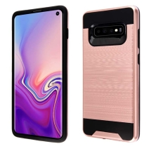 Asmyna Brushed Hybrid Case for Samsung Galaxy S10 (Rose Gold & Black) (Closeout)