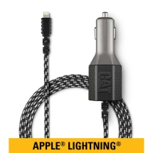 CAT Mobile 4.8 Amp USB Car Charger & 6ft Braided Nylon Lightning Cable