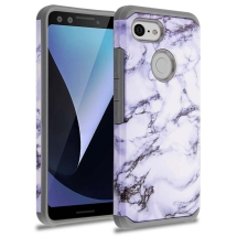 Advanced Armor Case for Google Pixel 3 (White Marble & Gray)