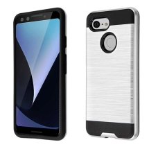 Brushed 2 Piece Hybrid Case for Google Pixel 3 (Silver & Black) (Closeout)