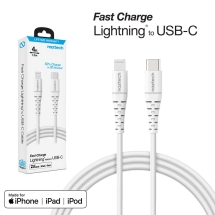 Naztech 4ft Braided Fast Charge MFi USB C to Lightning Cable (White)