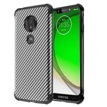 MYBAT Hologram Armor Case for Motorola Moto G7 Play (Black Carbon Fiber)