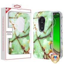 MYBAT TUFF Subs Hybrid Case for Motorola Moto G7 Play (Onice Verde Persiano Marble & Clear)
