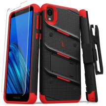 Zizo Bolt Case with Stand for Motorola Moto E6 (Black & Red)
