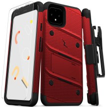 Zizo Bolt Case with Stand for Google Pixel 4 (Red & Black)